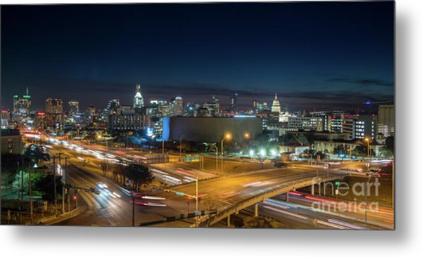 Panoramic View Of Busy Austin Texas Downtown Metal Print