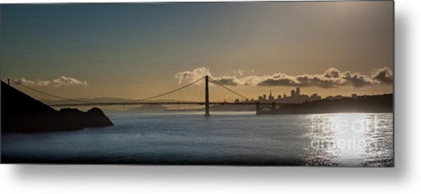 Panoramic View Of Downtown San Francisco Behind The Golden Gate  Metal Print