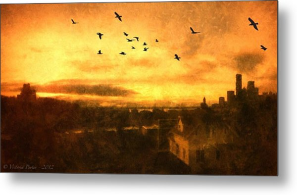 Panoramic View Of Seattle From The Balcony Metal Print