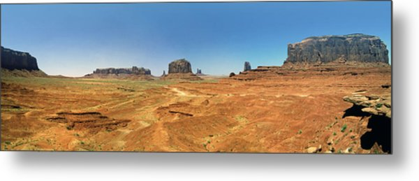 Panoramic View Of The Monument Valley  Metal Print by George Oze