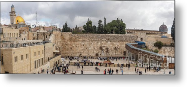 Panoramic View Of The Wailing Wall In The Old City Of Jerusalem Metal Print