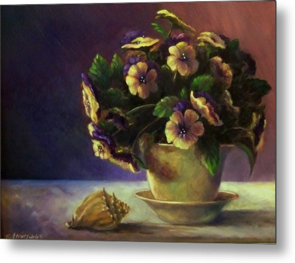Pansies And Celadon Metal Print by Ruth Stromswold