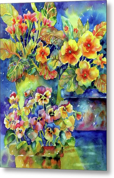 Pansies And Primroses Metal Print