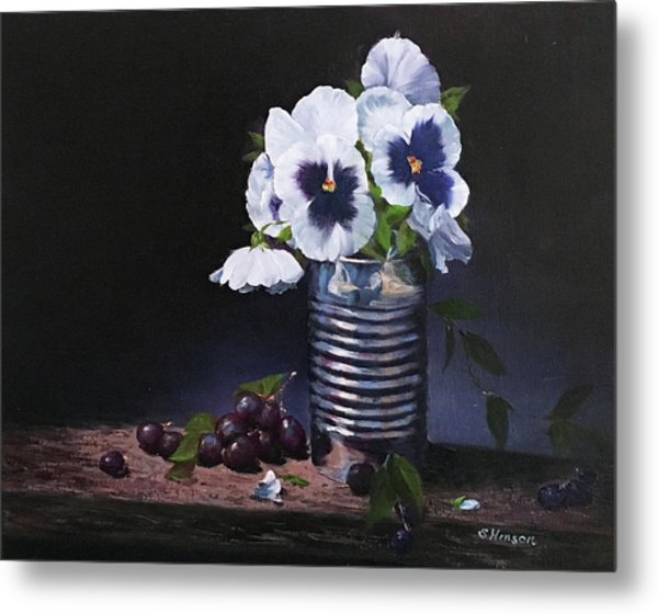 Pansies In A Can Metal Print