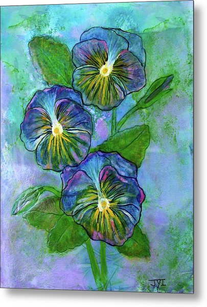 Pansy On Water Metal Print