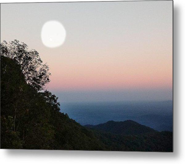 Paper Moon Over Blue Ridge Metal Print