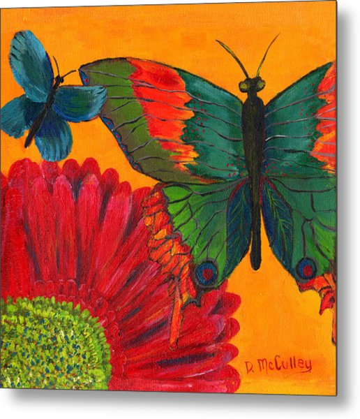 Papillon Jaune Metal Print by Debbie McCulley