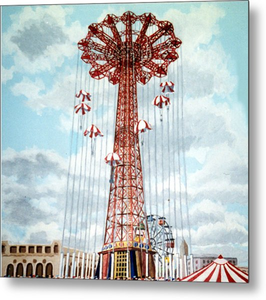 Parachute Jump In Coney Island New York Metal Print