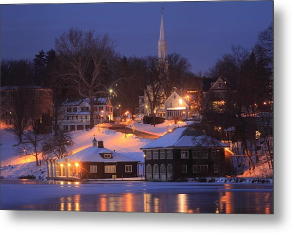 Paradise Pond Smith College Winter Evening Metal Print