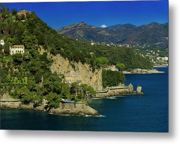 Paraggi Bay Castle And Liguria Mountains Portofino Park  Metal Print