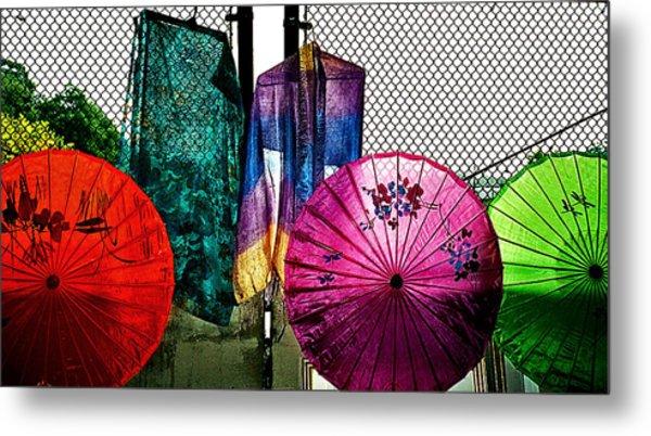 Parasols At A Flea Market Metal Print