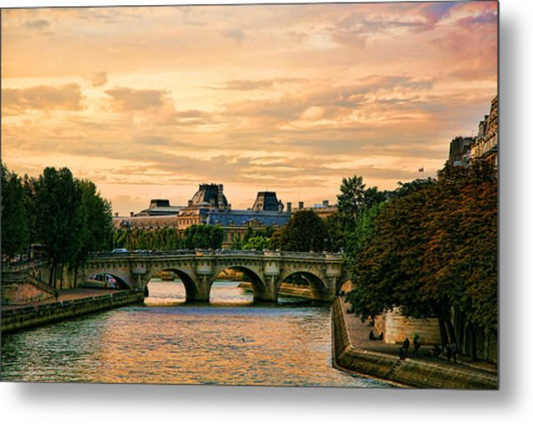 Paris At Sunset The Seine River  Metal Print