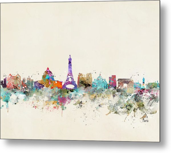 Paris City Skylline Metal Print