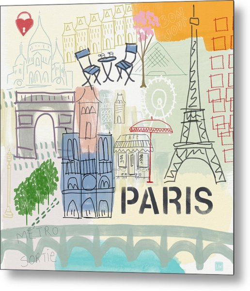 Paris Cityscape- Art By Linda Woods Metal Print