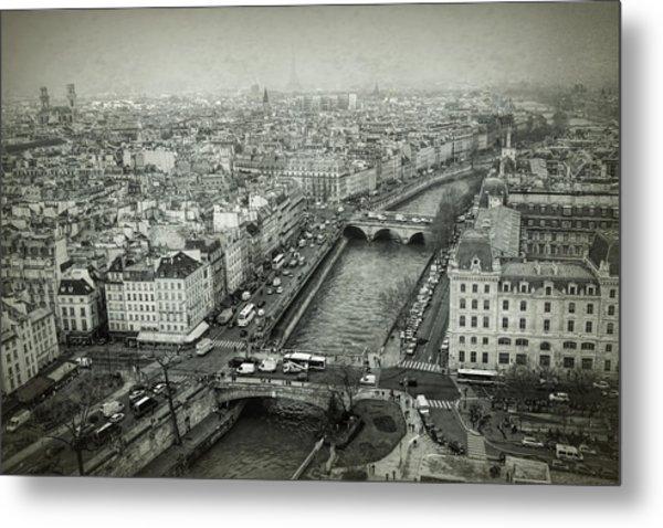 Paris Cityscape Bw Metal Print
