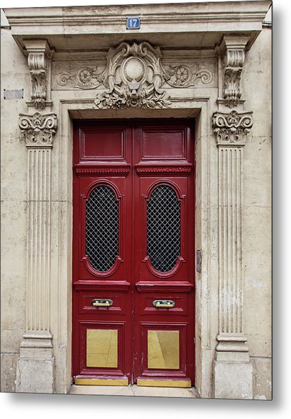 Paris Doors No. 17 - Paris, France Metal Print
