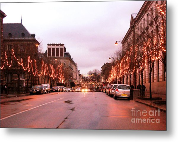 Paris Holiday Christmas Street Scene - Christmas In Paris Metal Print