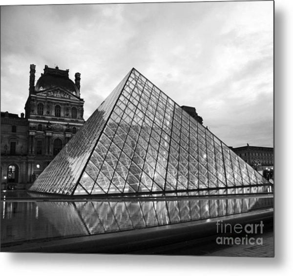 Paris Louvre Museum Pyramid Black And White - Paris Pyramid Twilight Sparkling Night Lights Metal Print