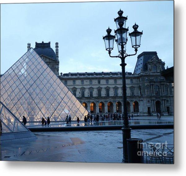 Paris Louvre Museum Pyramid Evening Dusk Blue Lights Lanterns Lamp Posts Metal Print