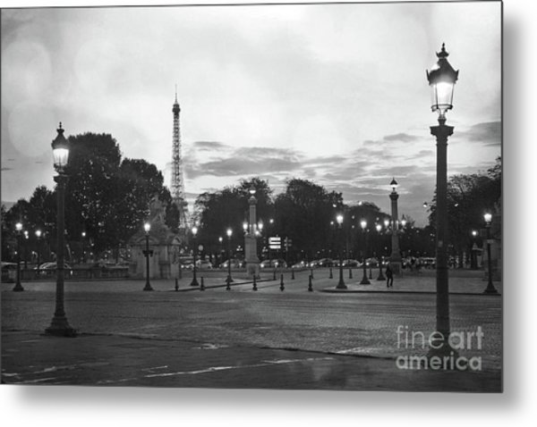 Paris Place De La Concorde Lights - Paris Black And White Photography Night Lights  Metal Print