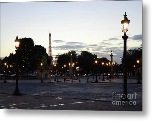 Paris Place De La Concorde Plaza Evening Night Lights Metal Print