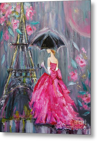 Paris Rain Metal Print