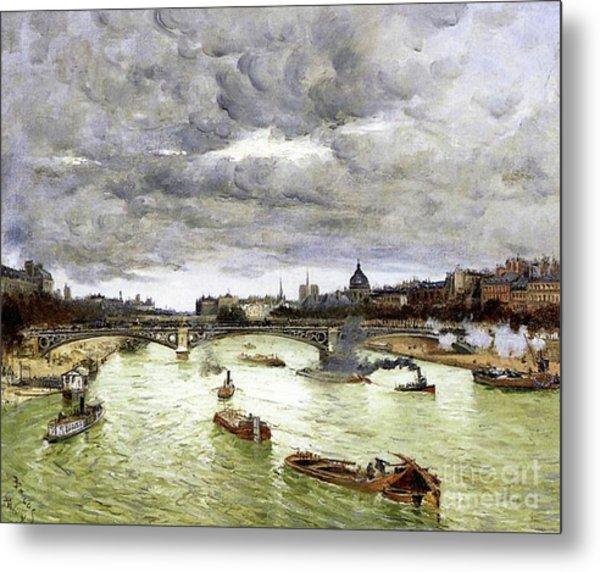 Paris, The Seine And Alexander IIi's Bridge, 1896 Metal Print