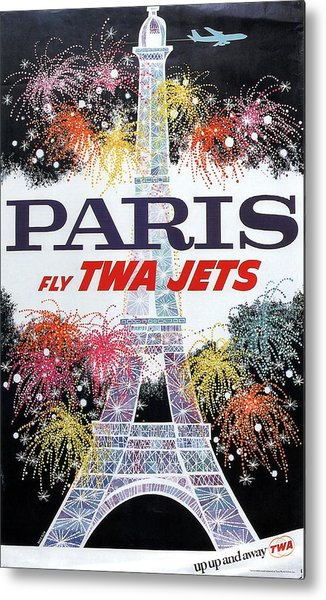 Paris - Twa Jets - Trans World Airlines - Eiffel Tower - Retro Travel Poster - Vintage Poster Metal Print
