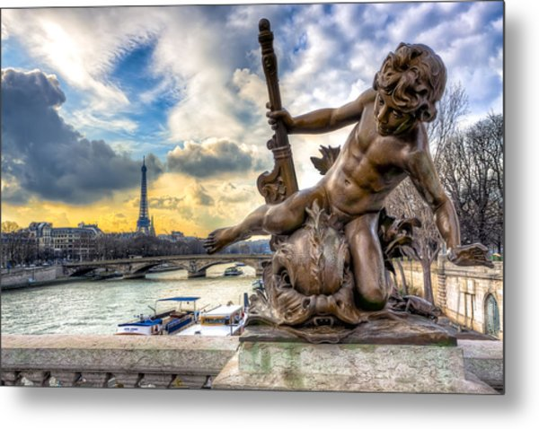 Parisian Cherub On The Pont Alexandre IIi Metal Print by Mark E Tisdale