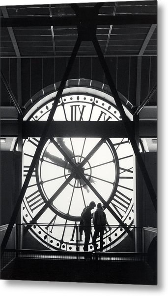 Parisian Clock Metal Print by Andrea Simon