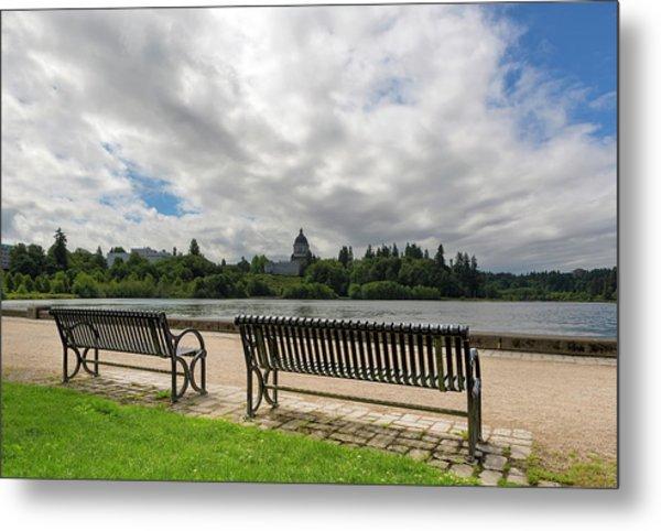 Park Bench Along Capitol Lake In Olympia Washington Metal Print