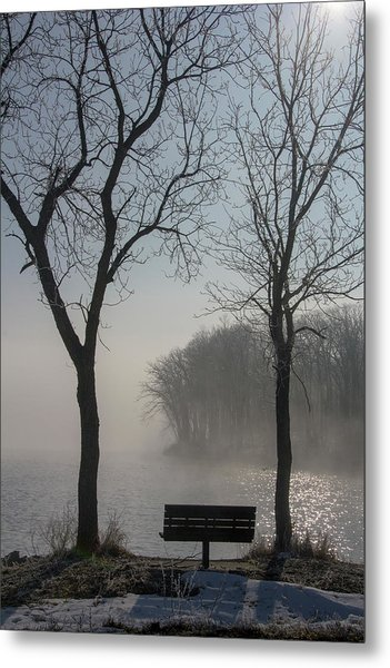 Park Bench In Morning Fog Metal Print