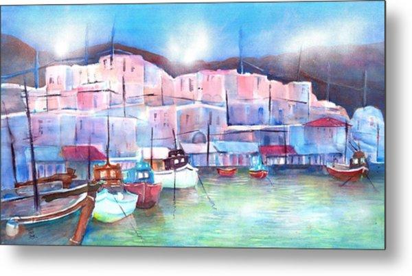 Greek Island Paros Naoussa Harbor Metal Print