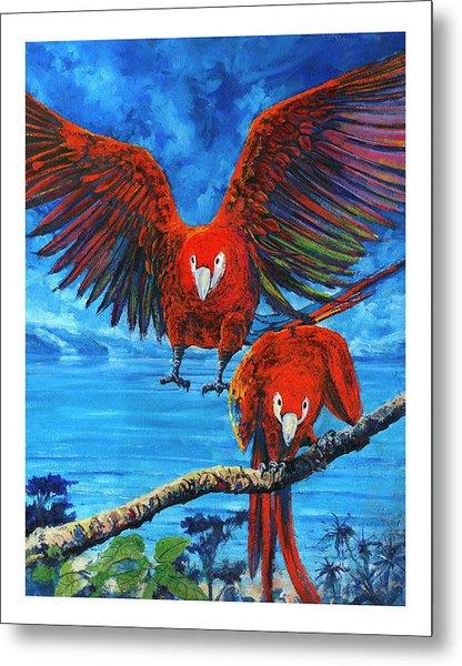 Parrots In Costa Rica Metal Print