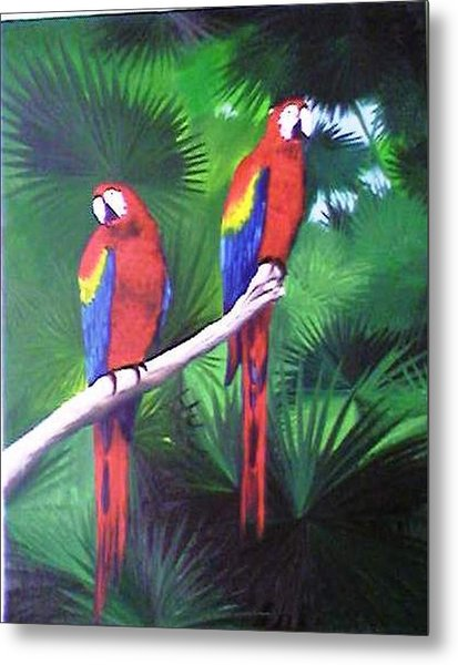 Parrots Molly And Polly Metal Print