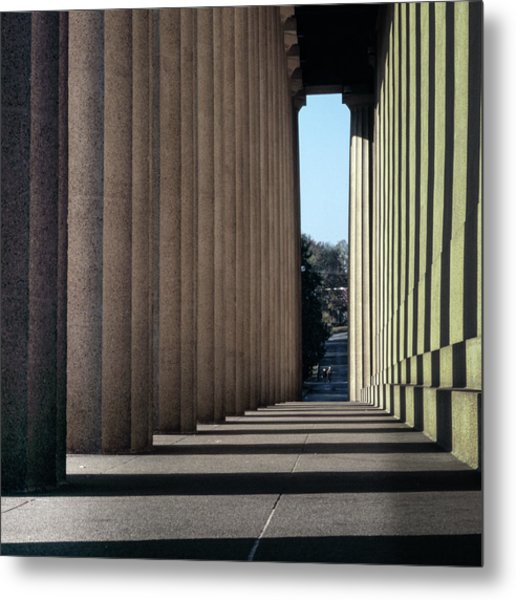 Parthenon Shadow Tunnel Metal Print