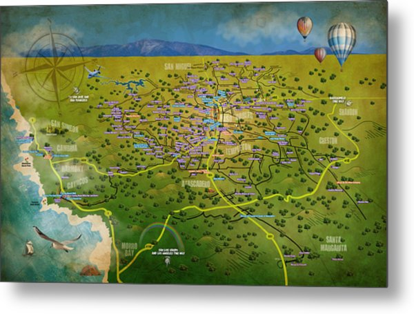 Paso Robles East Side / West Side Wine Tasting Metal Print