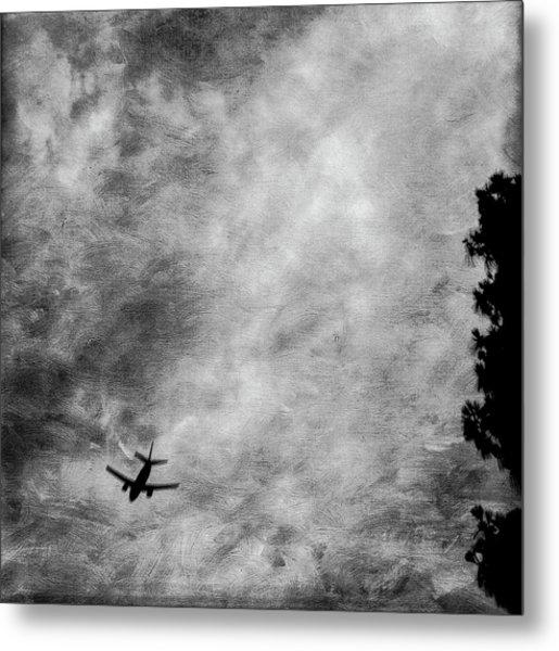 Passenger Jet Airliner Cloudy Sky Over Burbank In Bw Metal Print