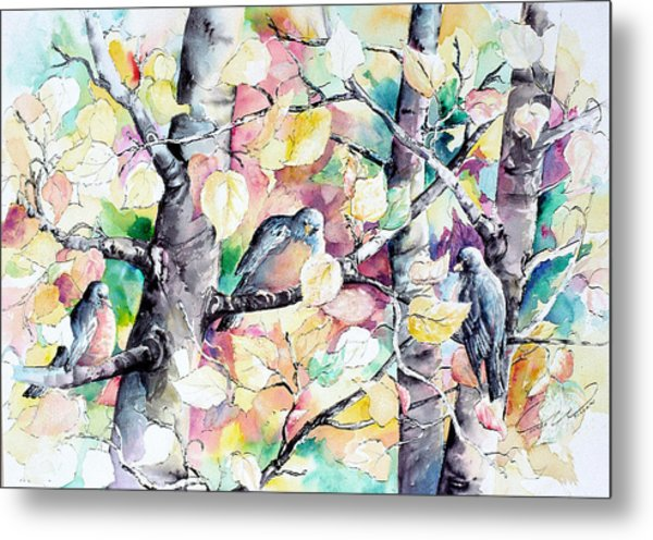 Pastel Aspen With Robins Metal Print