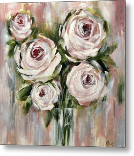 Pastel Pink Roses Metal Print