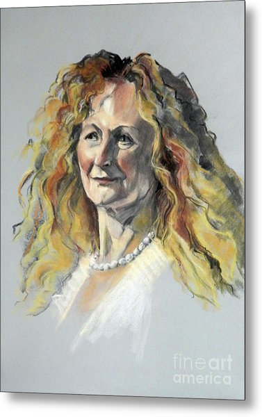 Pastel Portrait Of Woman With Frizzy Hair Metal Print