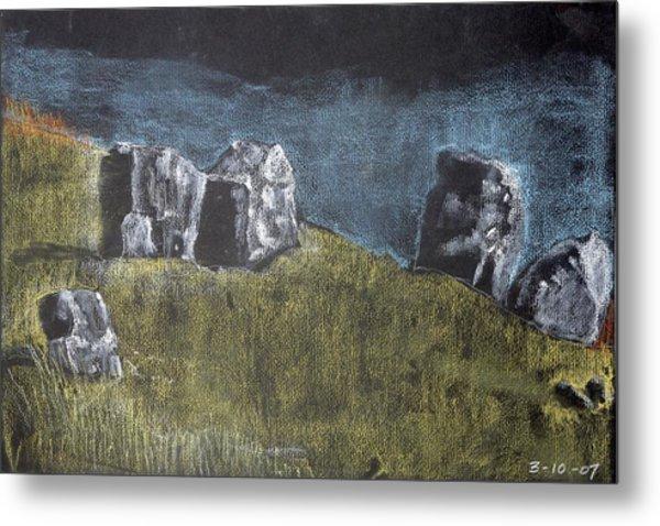 Pastel Stones On Black Metal Print