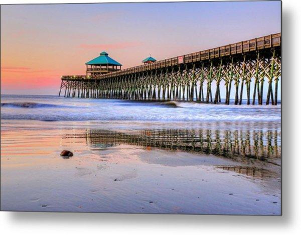Pastel Sunrise On Folly Beach Pier In Charleston South Carolina Metal Print