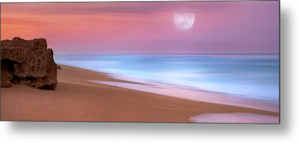 Pastel Sunset And Moonrise Over Hutchinson Island Beach, Florida. Metal Print