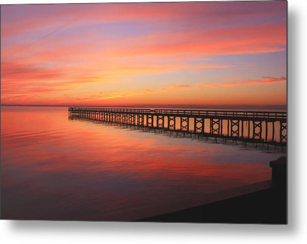 Pastels At The Hilton Fishing Pier  Metal Print