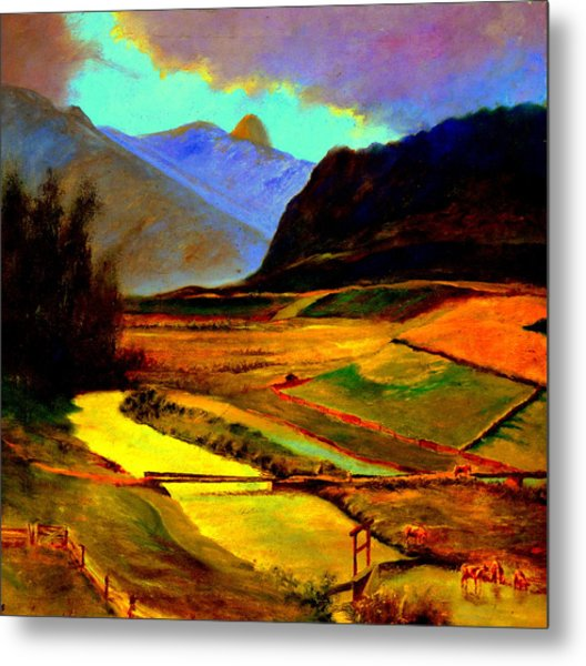 Pasture In The Mountains Metal Print