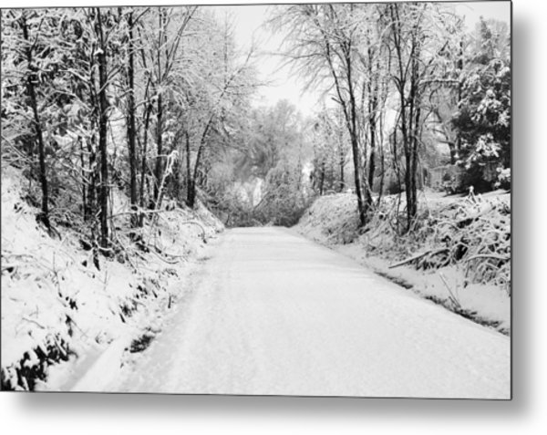 Path In The Snow Metal Print by Michelle Shockley