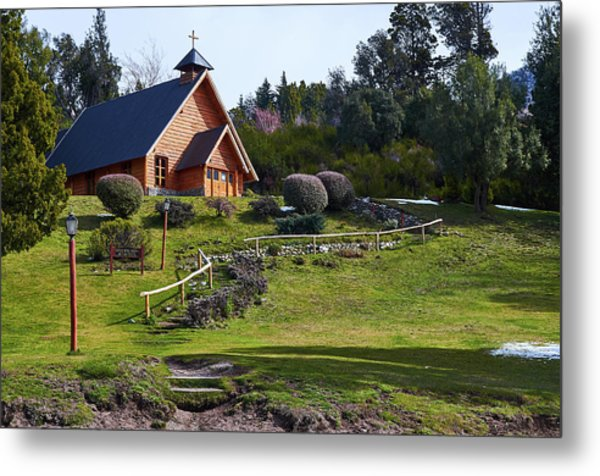 Rustic Church Surrounded By Trees In The Argentine Patagonia Metal Print