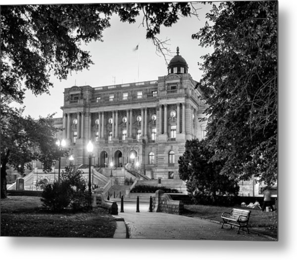 Path To The Library In Black And White Metal Print
