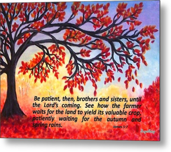 Metal Print featuring the painting Patient Autumn Tree by Sonya Nancy Capling-Bacle
